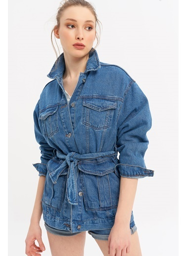 ESQ Ön Cep Detaylı Kemerli Kot Ceket Mavi